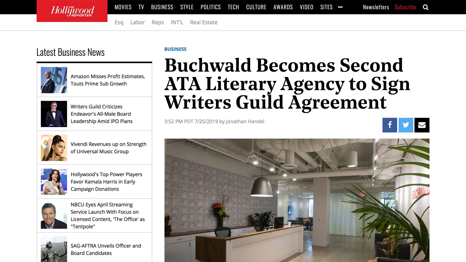Fairness Rocks News Buchwald Becomes Second ATA Literary Agency to Sign Writers Guild Agreement