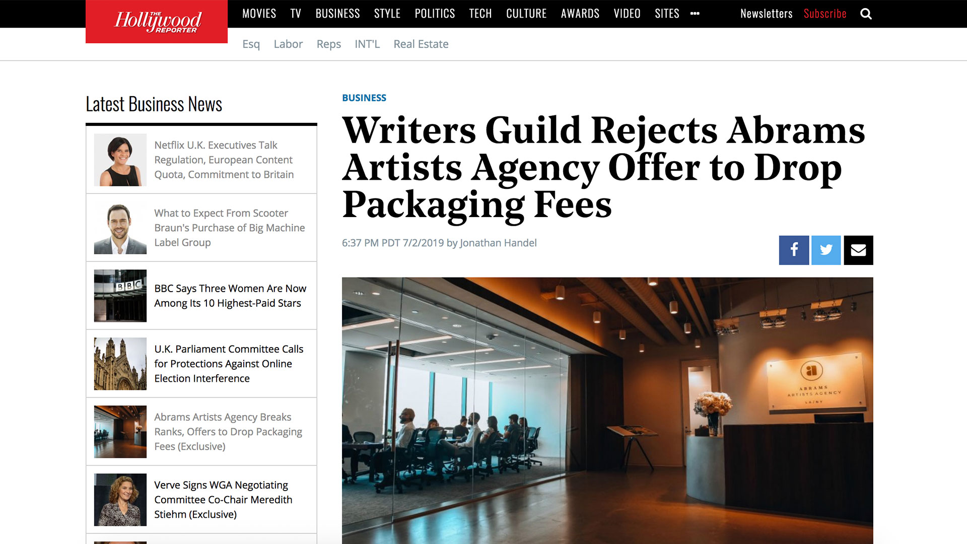 Fairness Rocks News Writers Guild Rejects Abrams Artists Agency Offer to Drop Packaging Fees