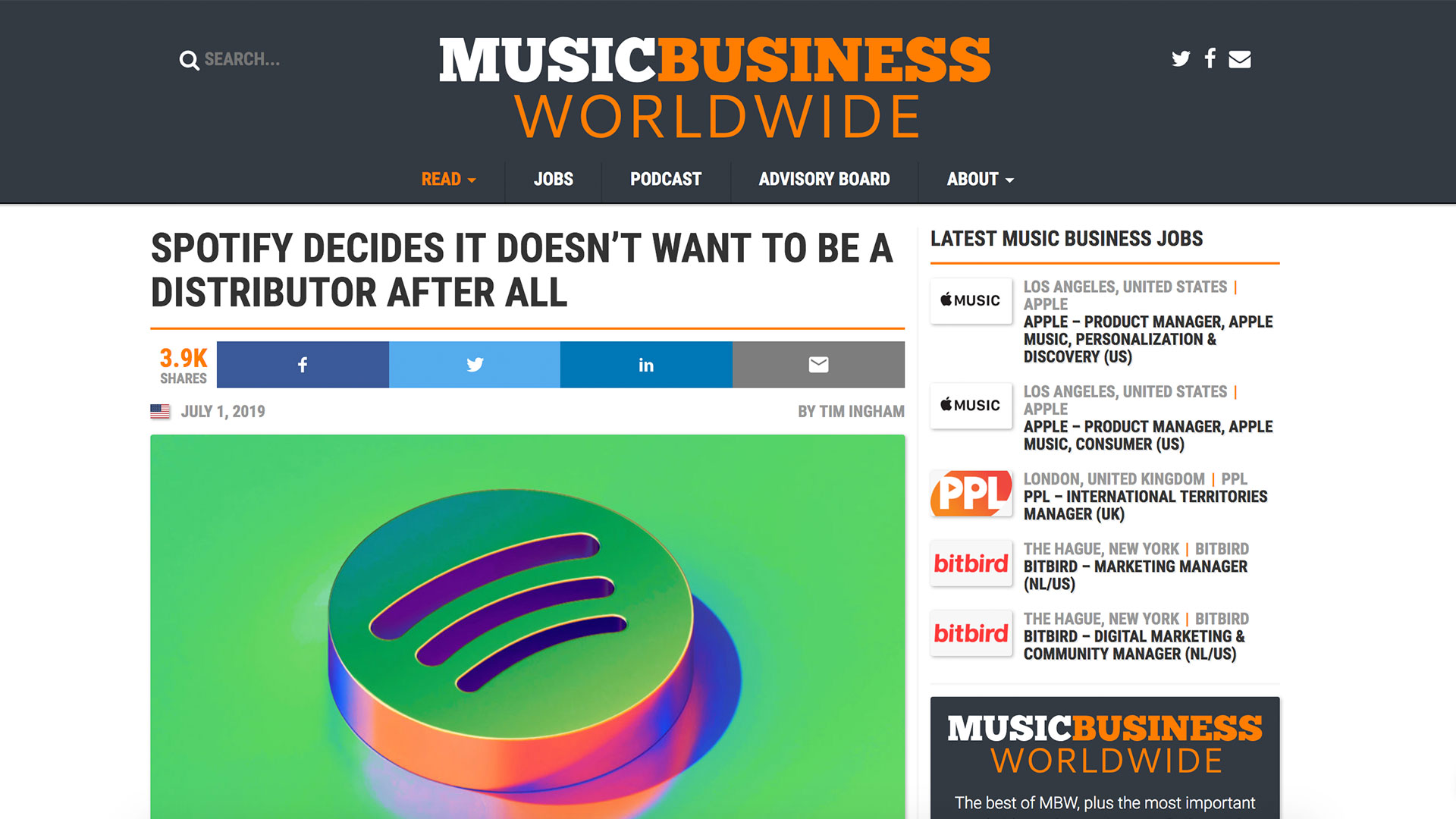 Fairness Rocks News SPOTIFY DECIDES IT DOESN'T WANT TO BE A DISTRIBUTOR AFTER ALL