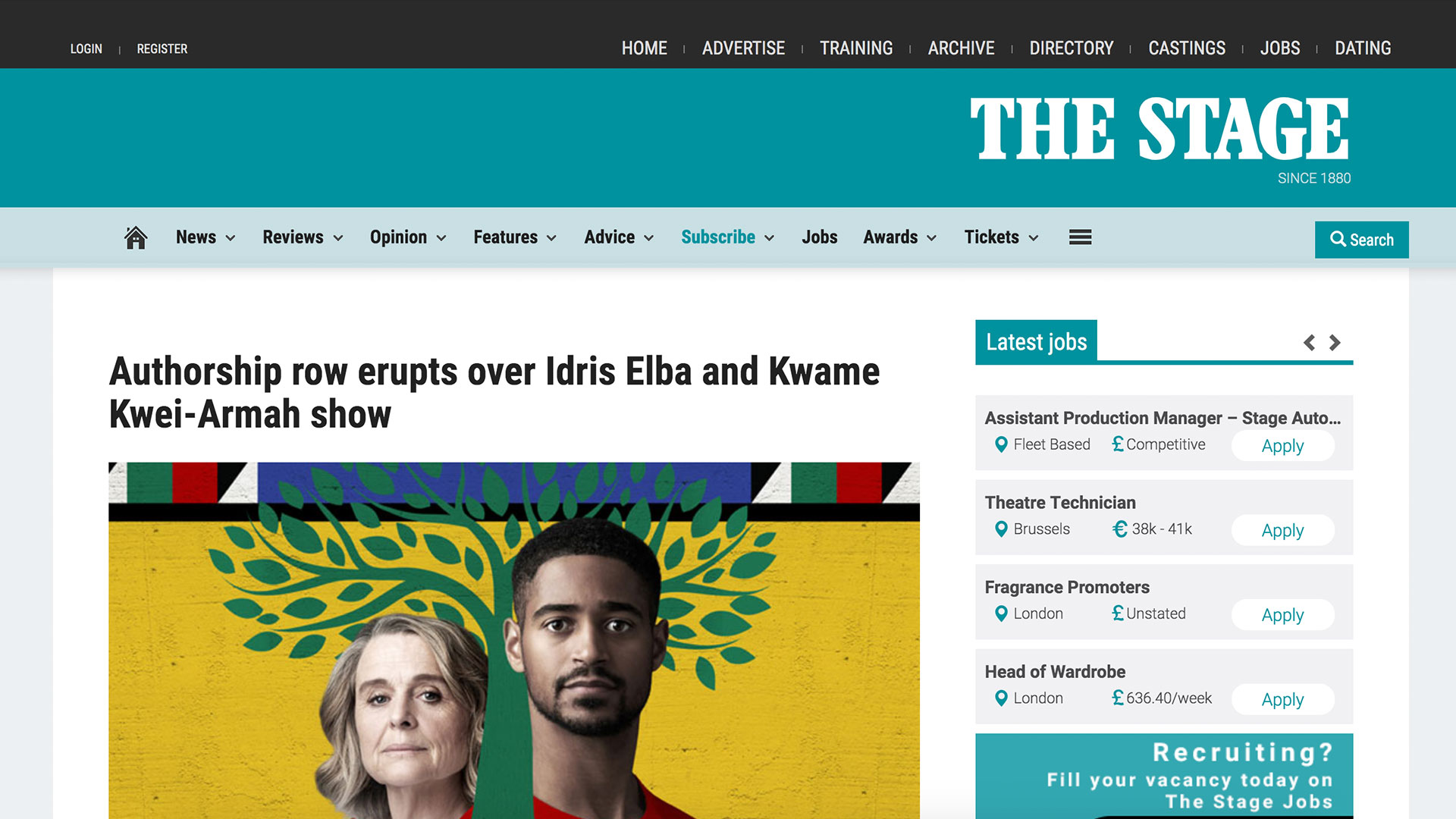 Fairness Rocks News Authorship row erupts over Idris Elba and Kwame Kwei-Armah show