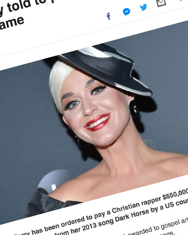 Fairness Rocks News Katy Perry told to pay $550k to Christian rapper Flame