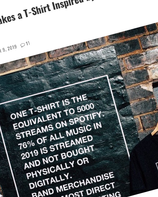 Fairness Rocks News British Band Makes a T-Shirt Inspired by Abysmal Spotify Royalties