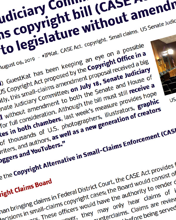 Fairness Rocks News US Senate Judiciary Committee approves small-claims copyright bill (CASE Act) and reports its to legislature without amendment