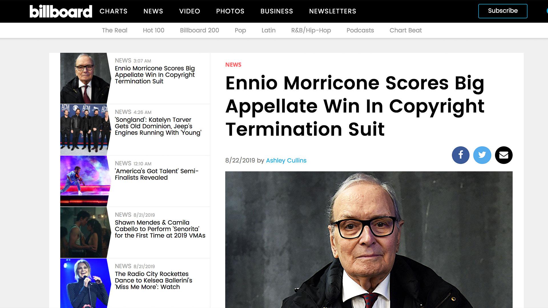 Fairness Rocks News Ennio Morricone Scores Big Appellate Win In Copyright Termination Suit