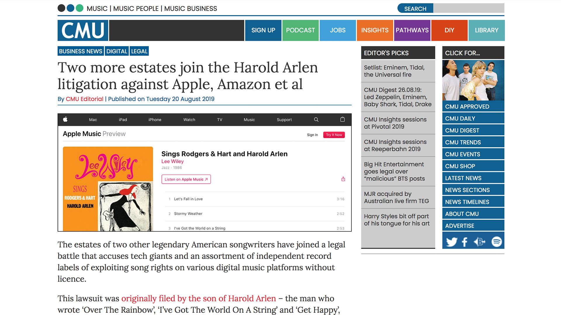 Fairness Rocks News Two more estates join the Harold Arlen litigation against Apple, Amazon et al
