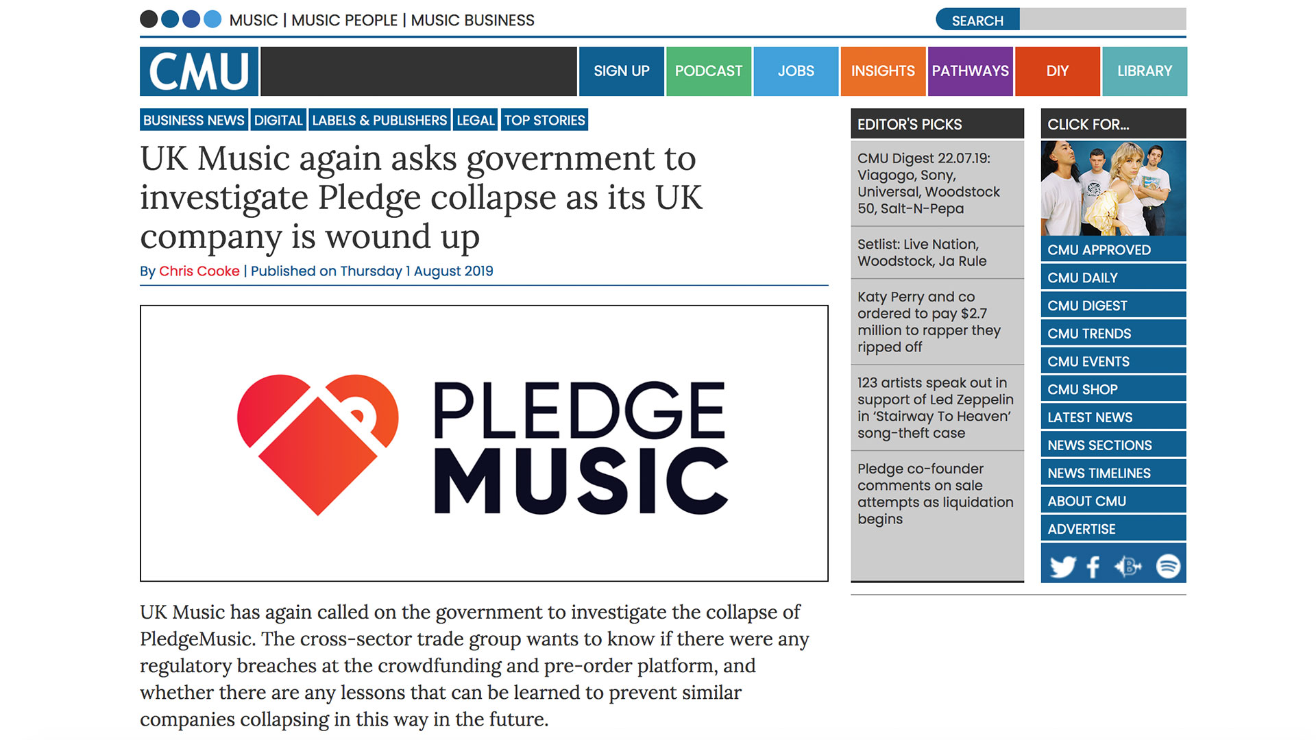 Fairness Rocks News UK Music again asks government to investigate Pledge collapse as its UK company is wound up