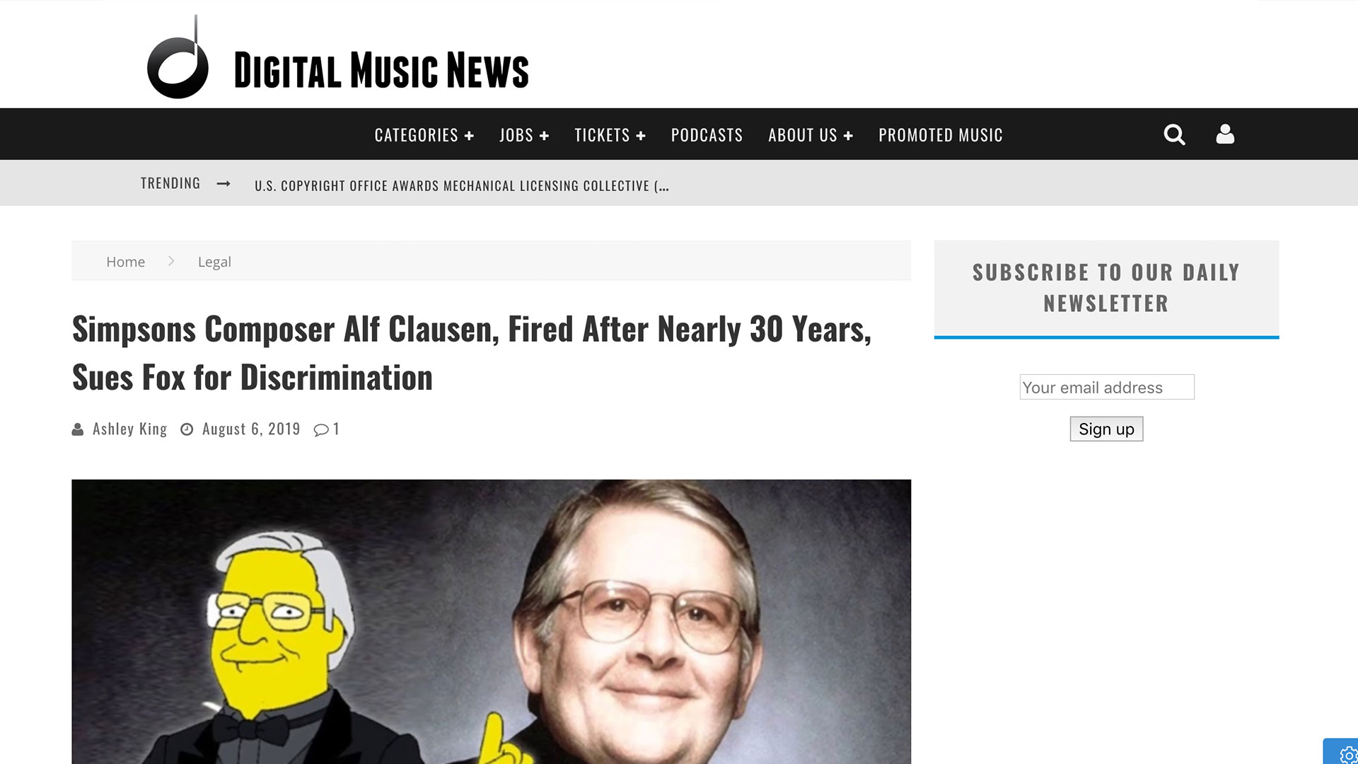Fairness Rocks News Simpsons Composer Alf Clausen, Fired After Nearly 30 Years, Sues Fox for Discrimination