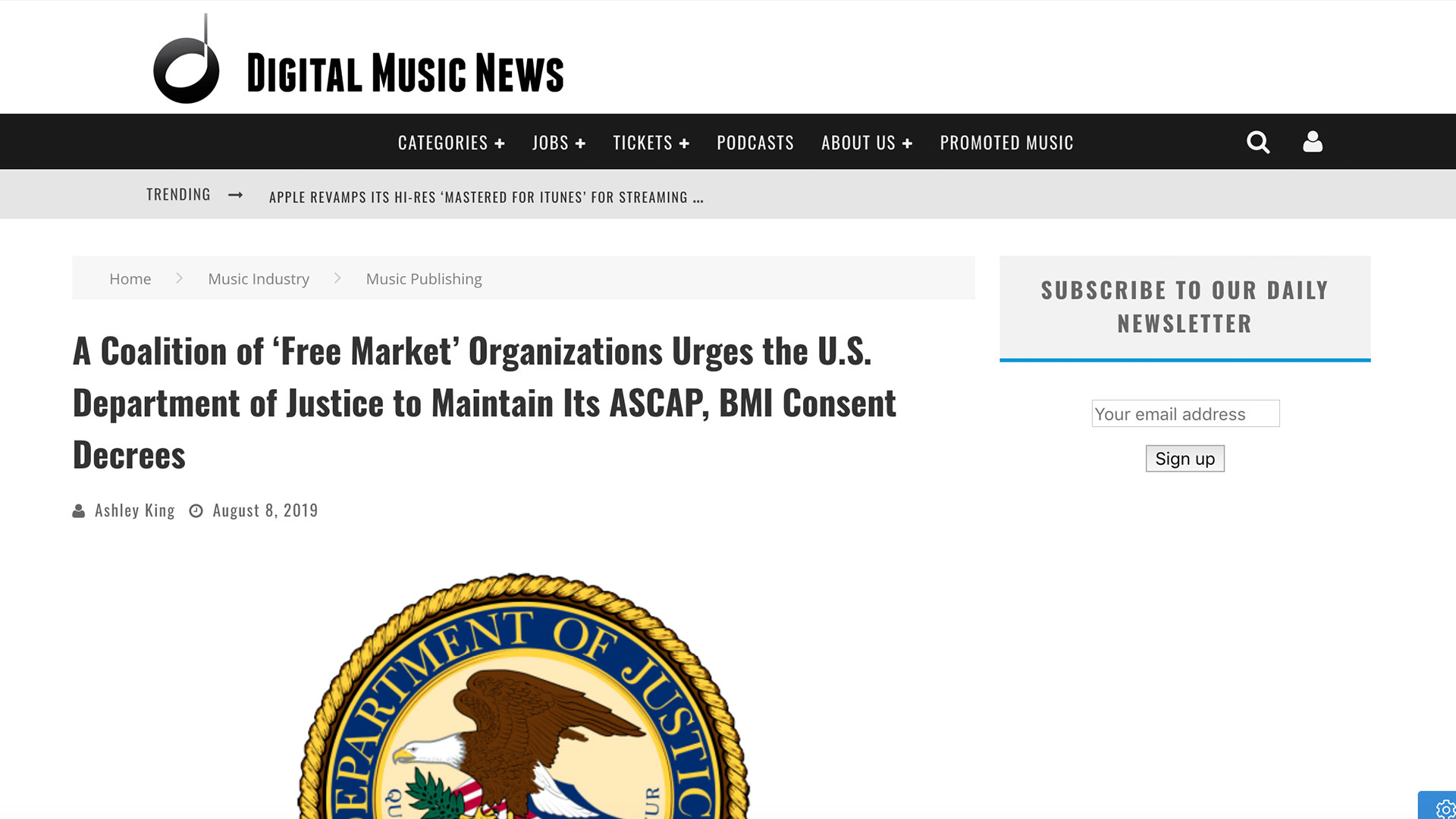 Fairness Rocks News A Coalition of 'Free Market' Organizations Urges the U.S. Department of Justice to Maintain Its ASCAP, BMI Consent Decrees