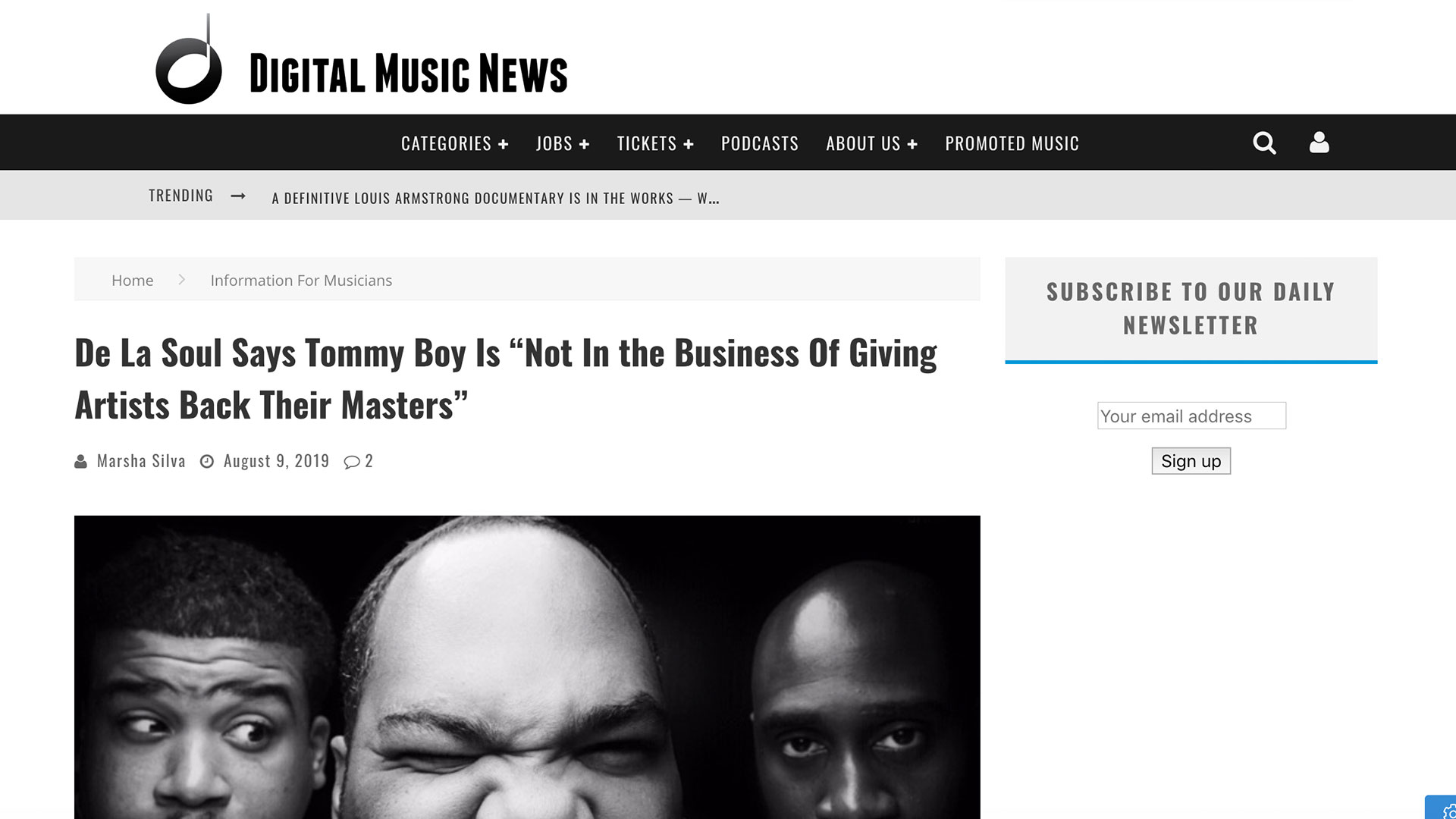 "Fairness Rocks News De La Soul Says Tommy Boy Is ""Not In the Business Of Giving Artists Back Their Masters"""