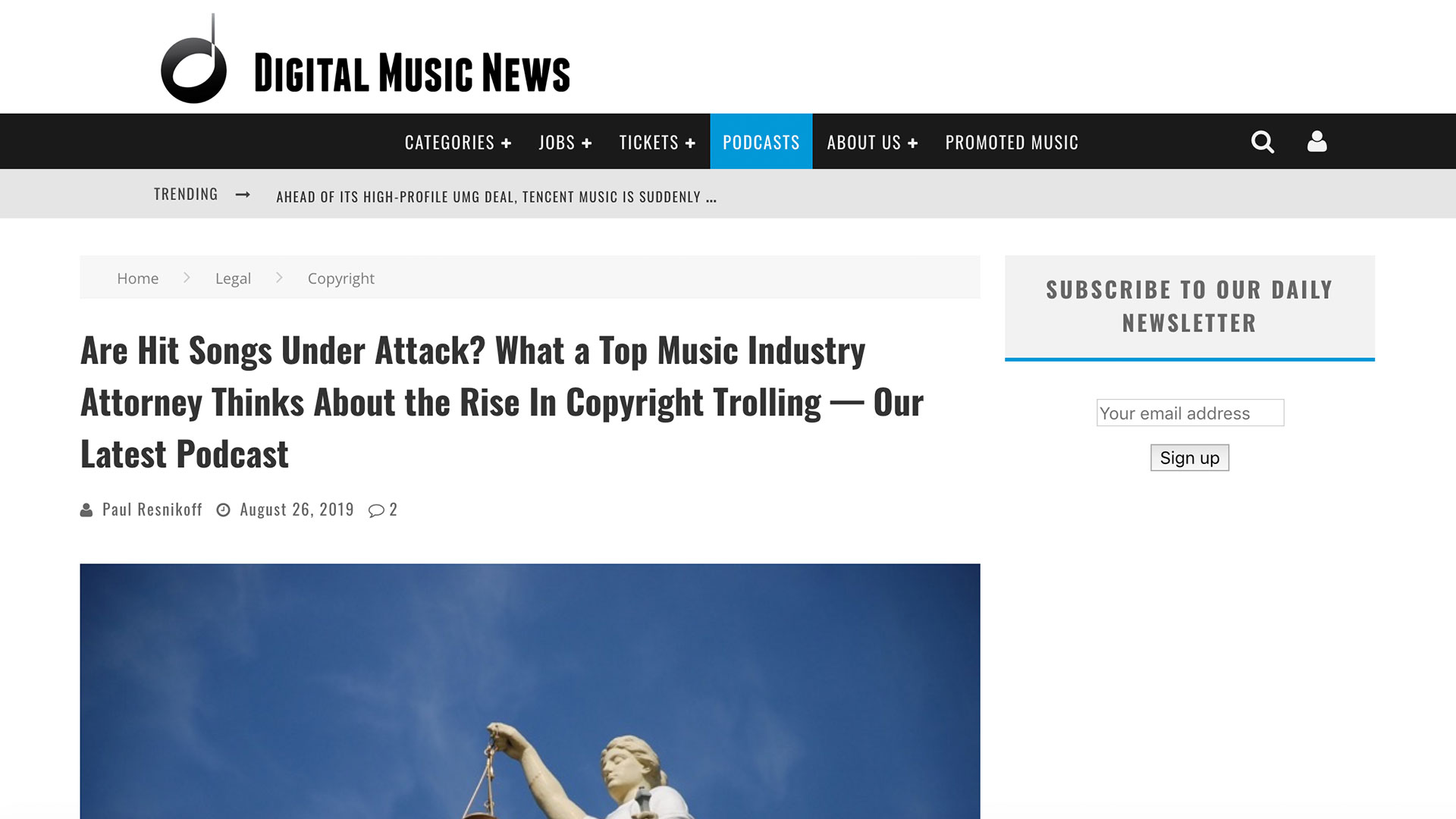 Fairness Rocks News Are Hit Songs Under Attack? What a Top Music Industry Attorney Thinks About the Rise In Copyright Trolling — Our Latest Podcast