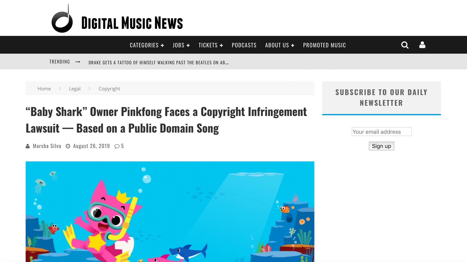 """Fairness Rocks News """"Baby Shark"""" Owner Pinkfong Faces a Copyright Infringement Lawsuit — Based on a Public Domain Song"""