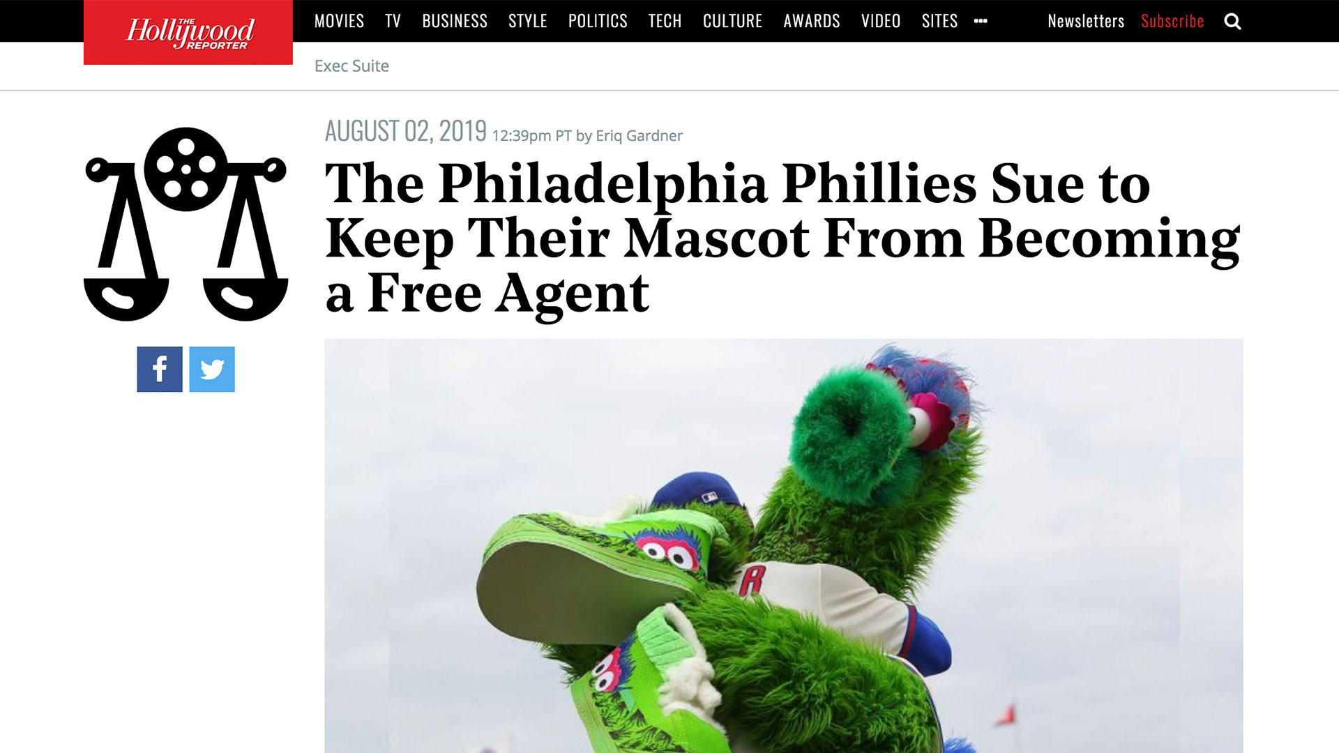 Fairness Rocks News The Philadelphia Phillies Sue to Keep Their Mascot From Becoming a Free Agent