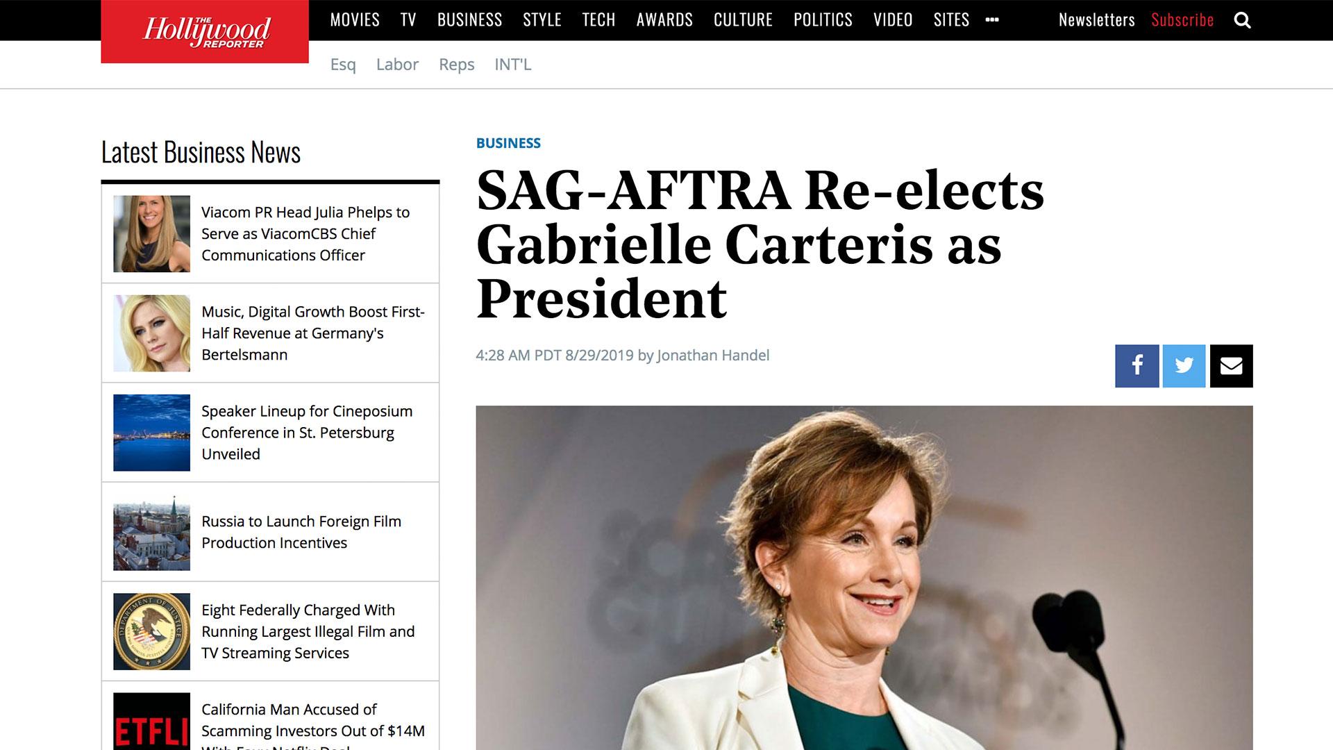 Fairness Rocks News SAG-AFTRA Re-elects Gabrielle Carteris as President
