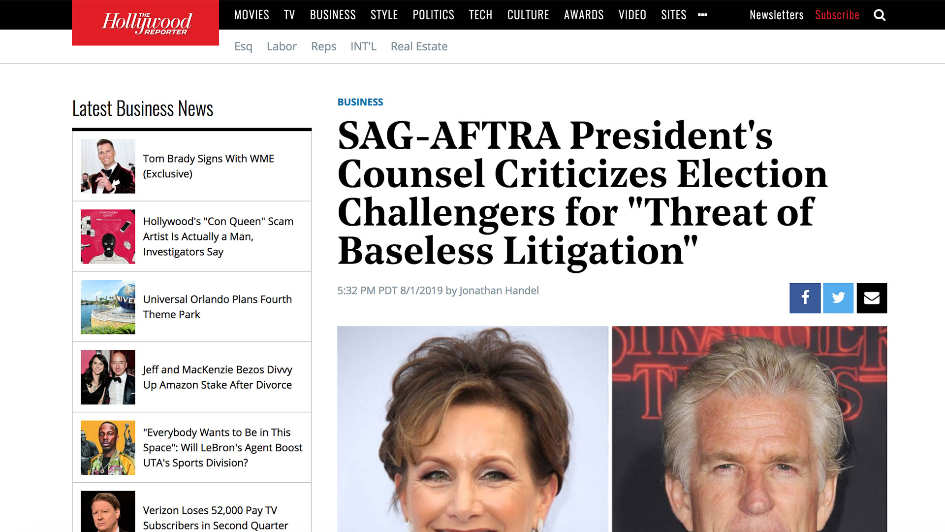 """Fairness Rocks News SAG-AFTRA President's Counsel Criticizes Election Challengers for """"Threat of Baseless Litigation"""""""