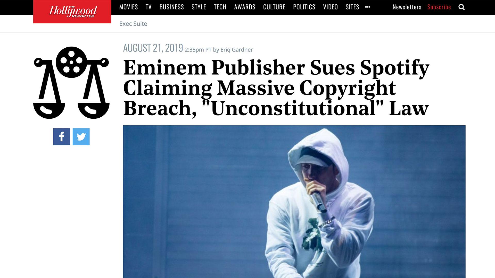 "Fairness Rocks News Eminem Publisher Sues Spotify Claiming Massive Copyright Breach, ""Unconstitutional"" Law"