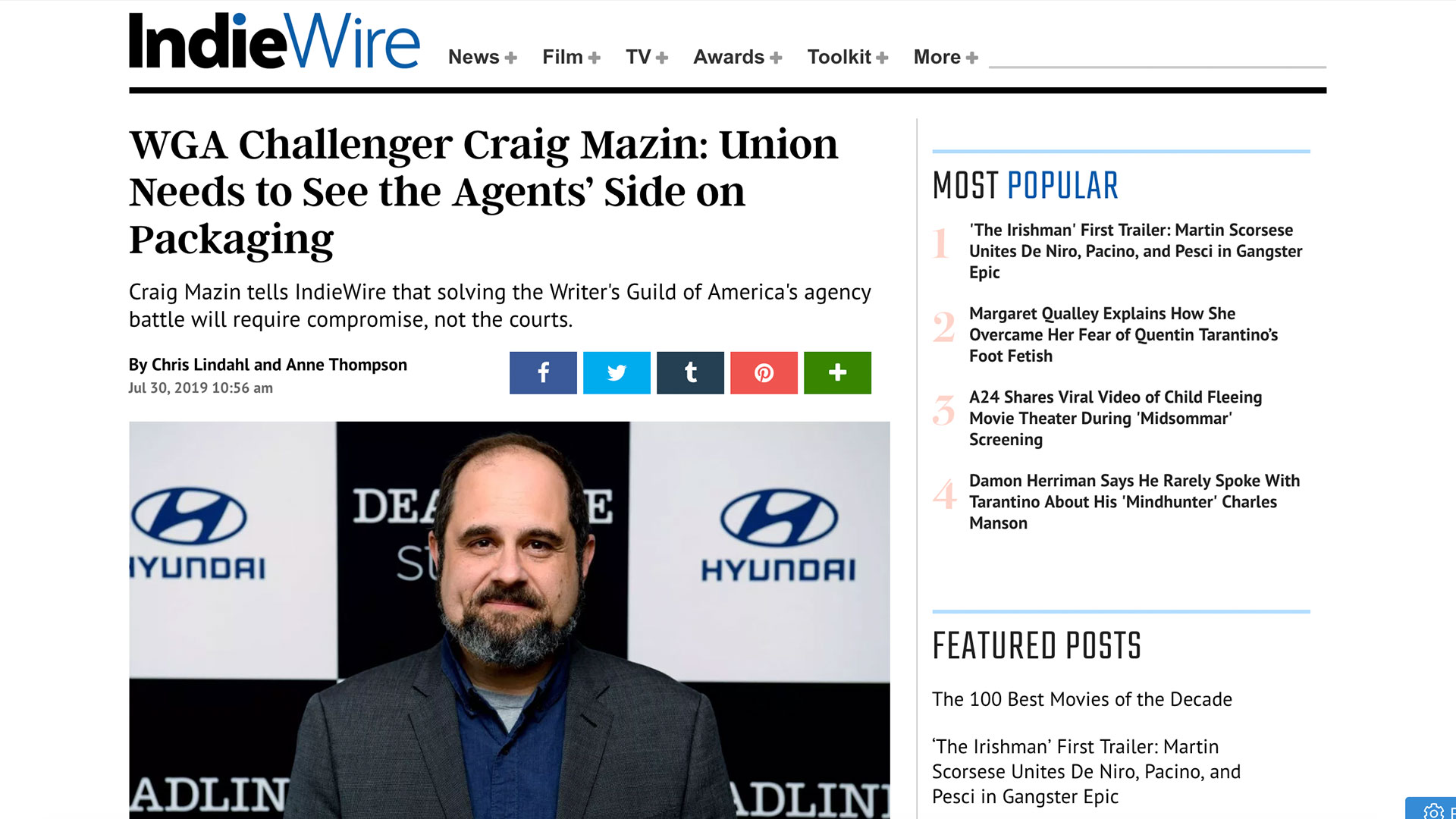 Fairness Rocks News WGA Challenger Craig Mazin: Union Needs to See the Agents' Side on Packaging