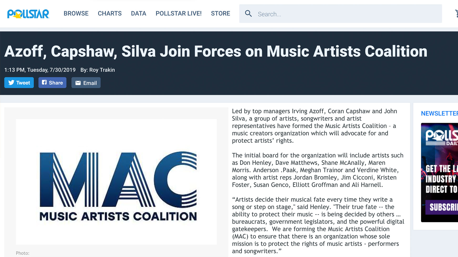 Fairness Rocks News Azoff, Capshaw, Silva Join Forces on Music Artists Coalition