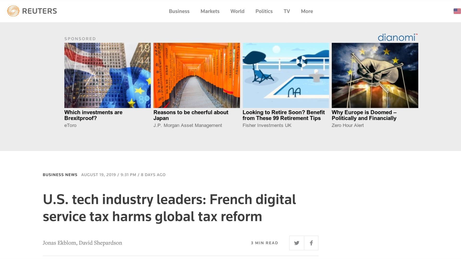 Fairness Rocks News U.S. tech industry leaders: French digital service tax harms global tax reform