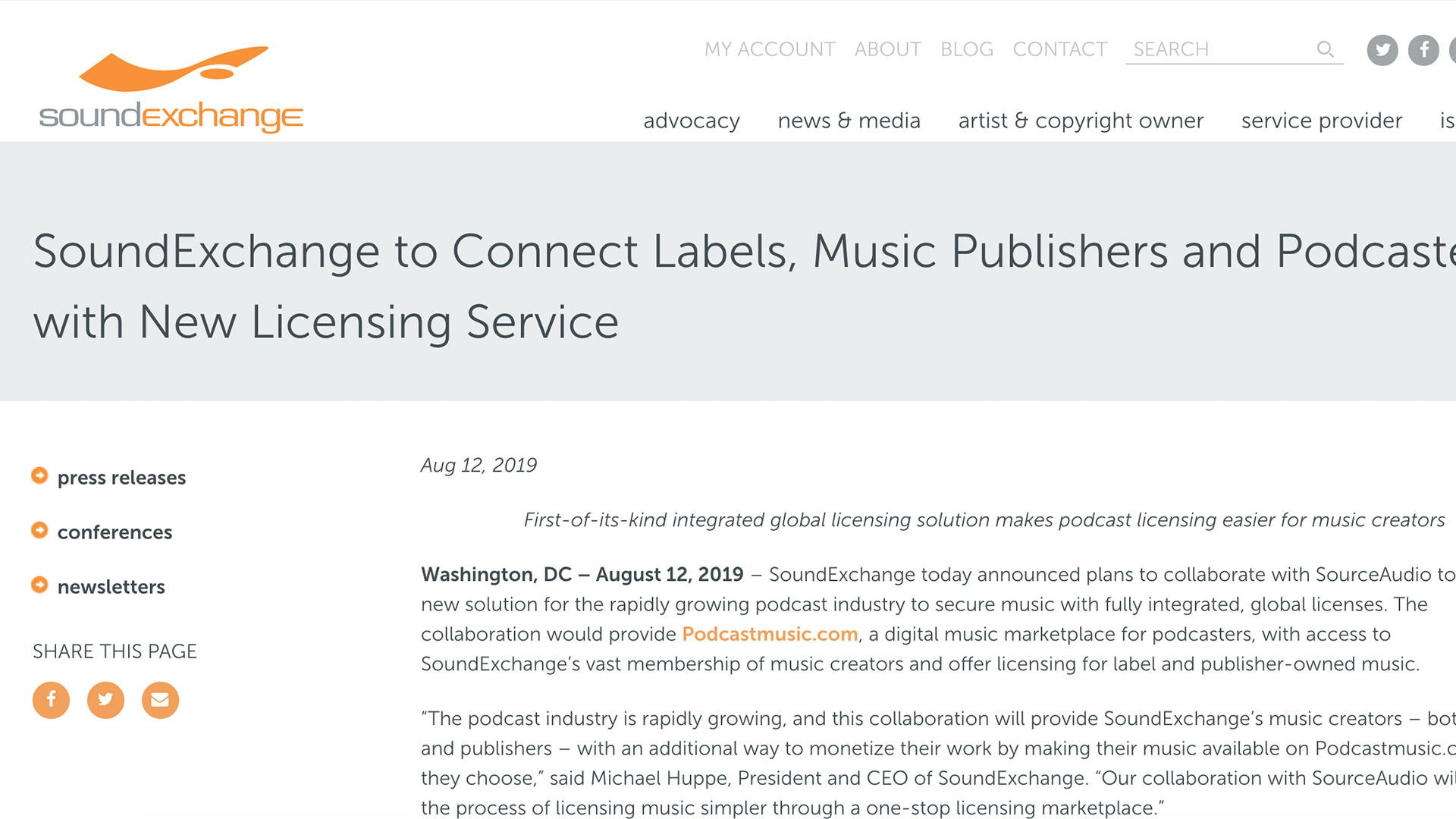 Fairness Rocks News SoundExchange to Connect Labels, Music Publishers and Podcasters with New Licensing Service