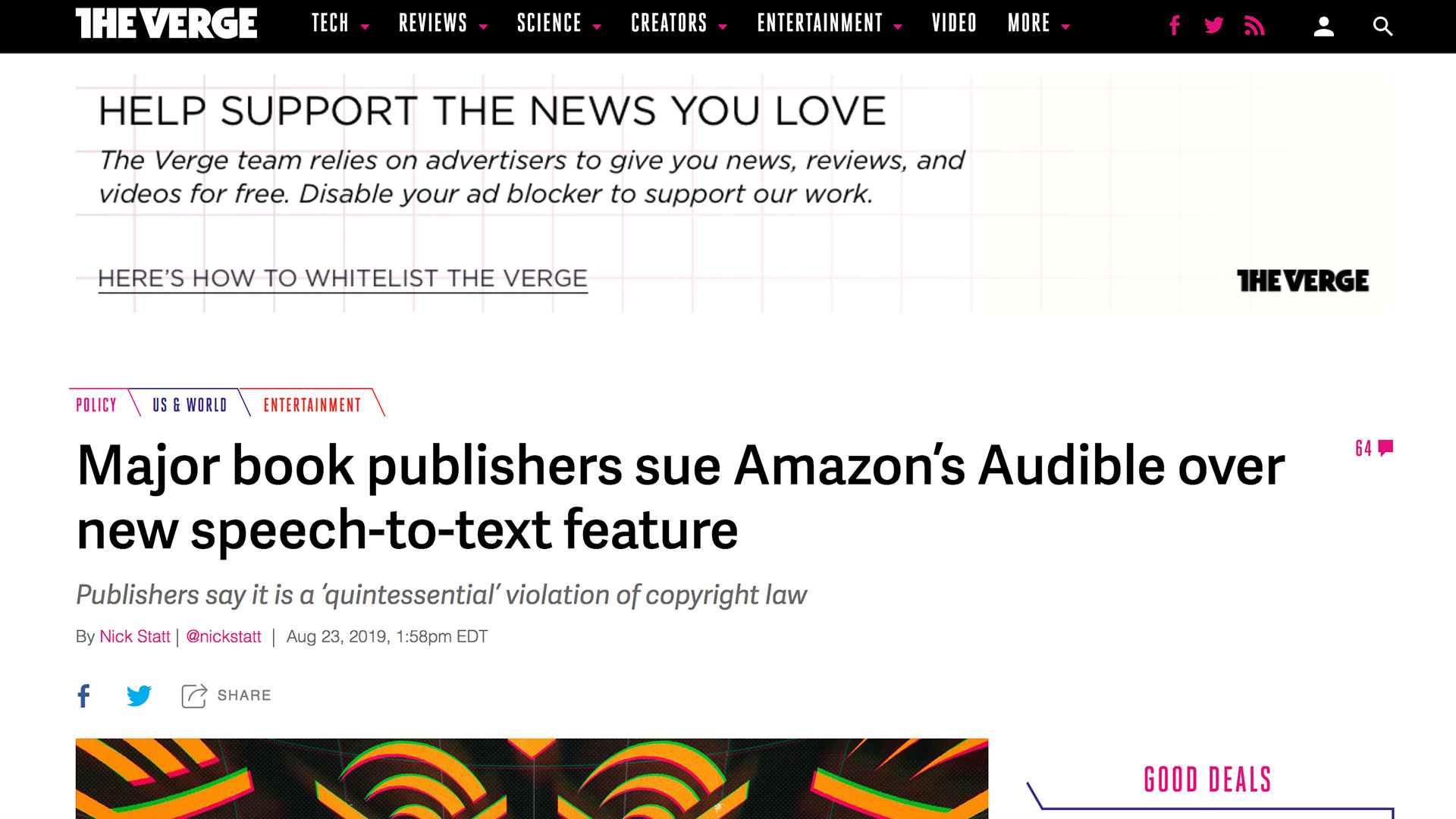 Fairness Rocks News Major book publishers sue Amazon's Audible over new speech-to-text feature