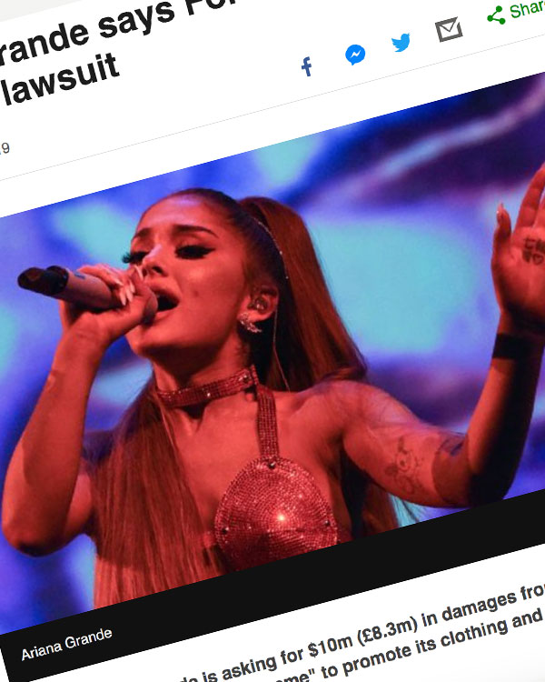 Fairness Rocks News Ariana Grande says Forever 21 'stole' name in lawsuit