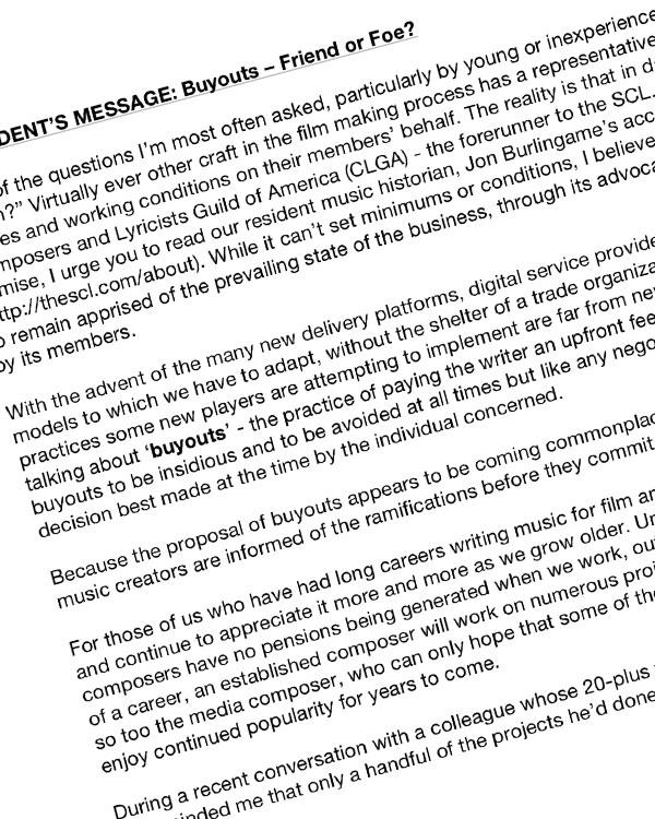 Fairness Rocks News PRESIDENT'S MESSAGE: Buyouts – Friend or Foe?