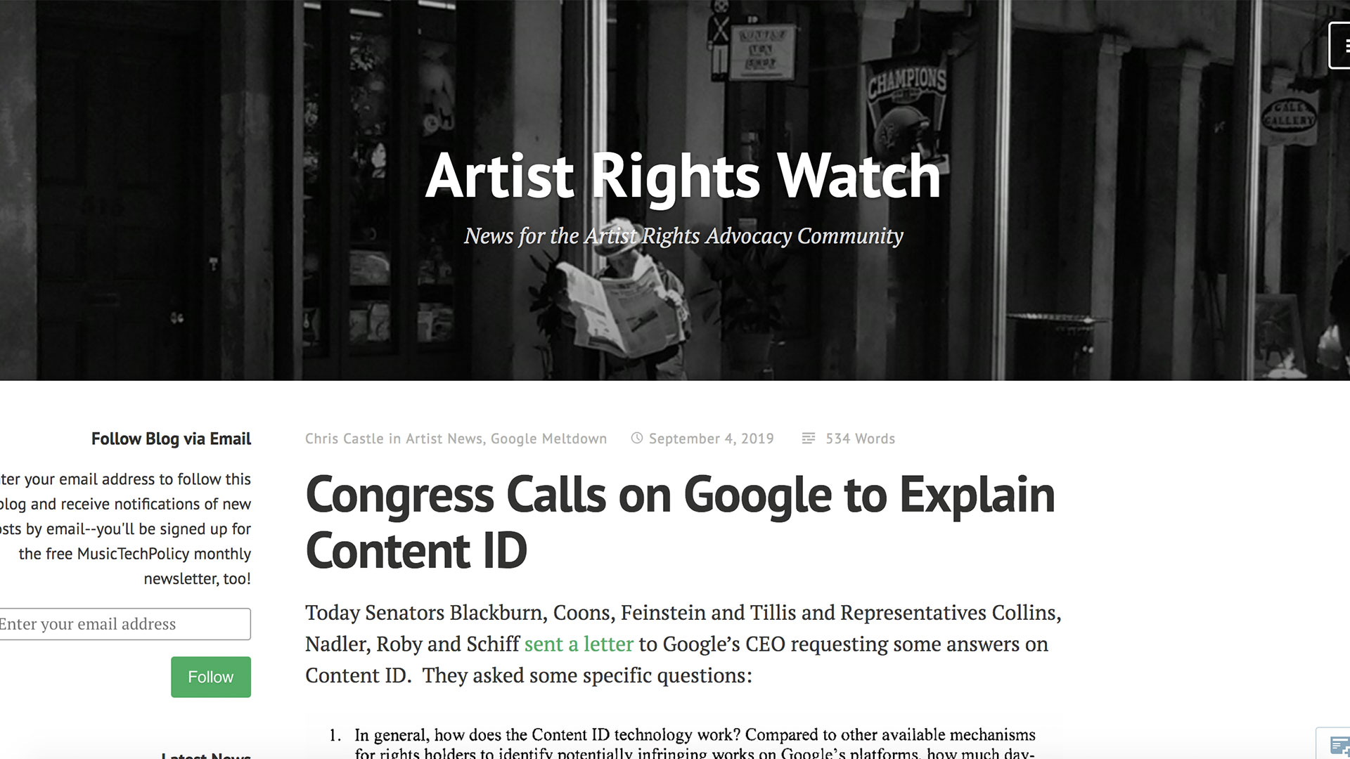 Fairness Rocks News Congress Calls on Google to Explain Content ID