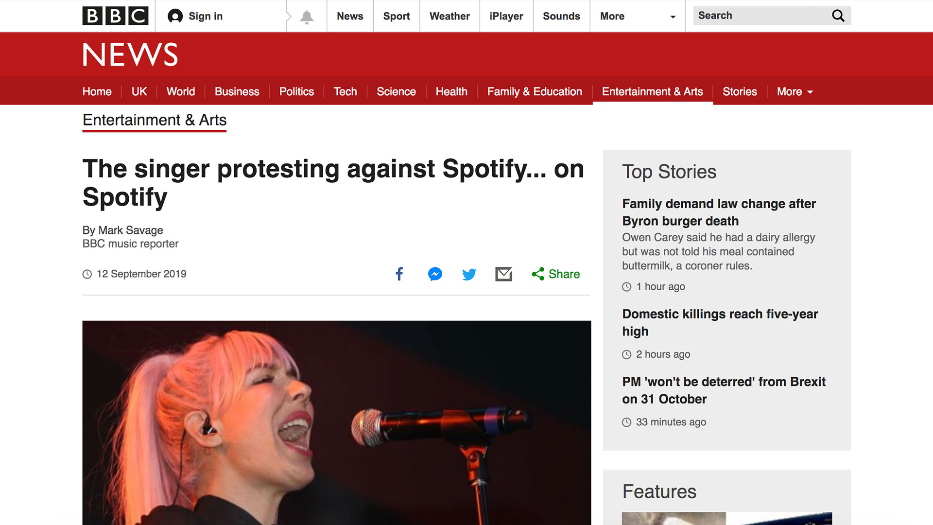 Fairness Rocks News The singer protesting against Spotify… on Spotify