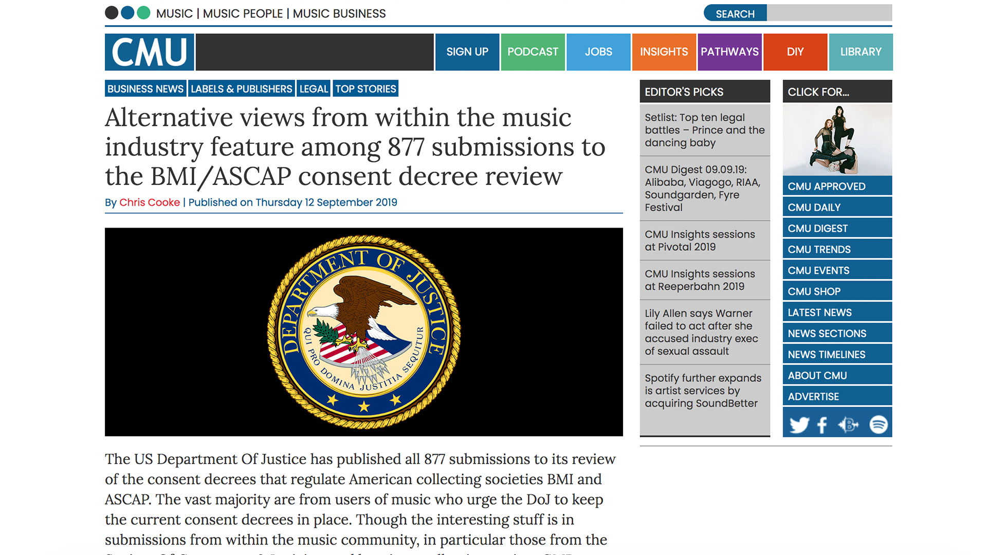 Fairness Rocks News Alternative views from within the music industry feature among 877 submissions to the BMI/ASCAP consent decree review