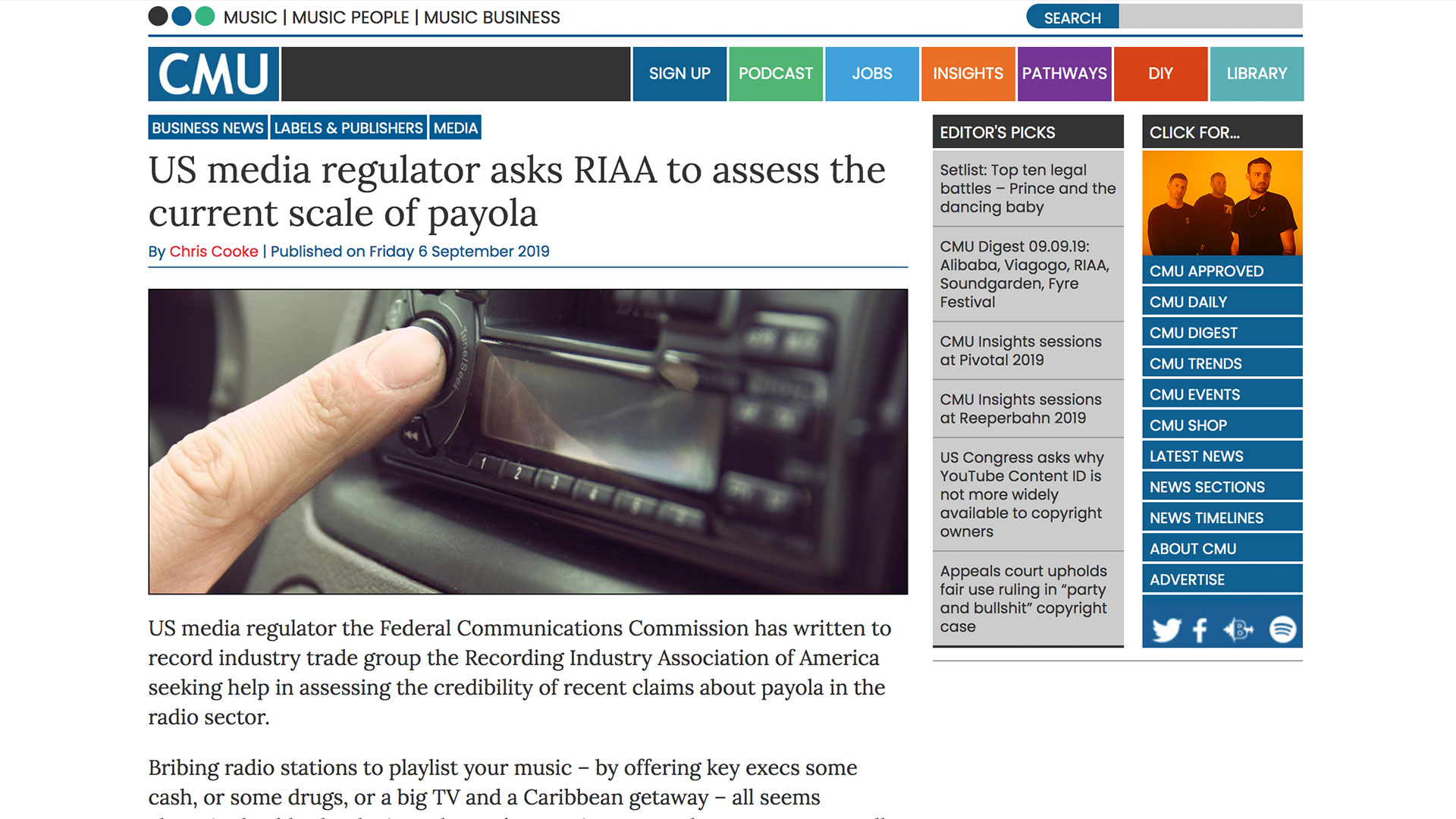 Fairness Rocks News US media regulator asks RIAA to assess the current scale of payola