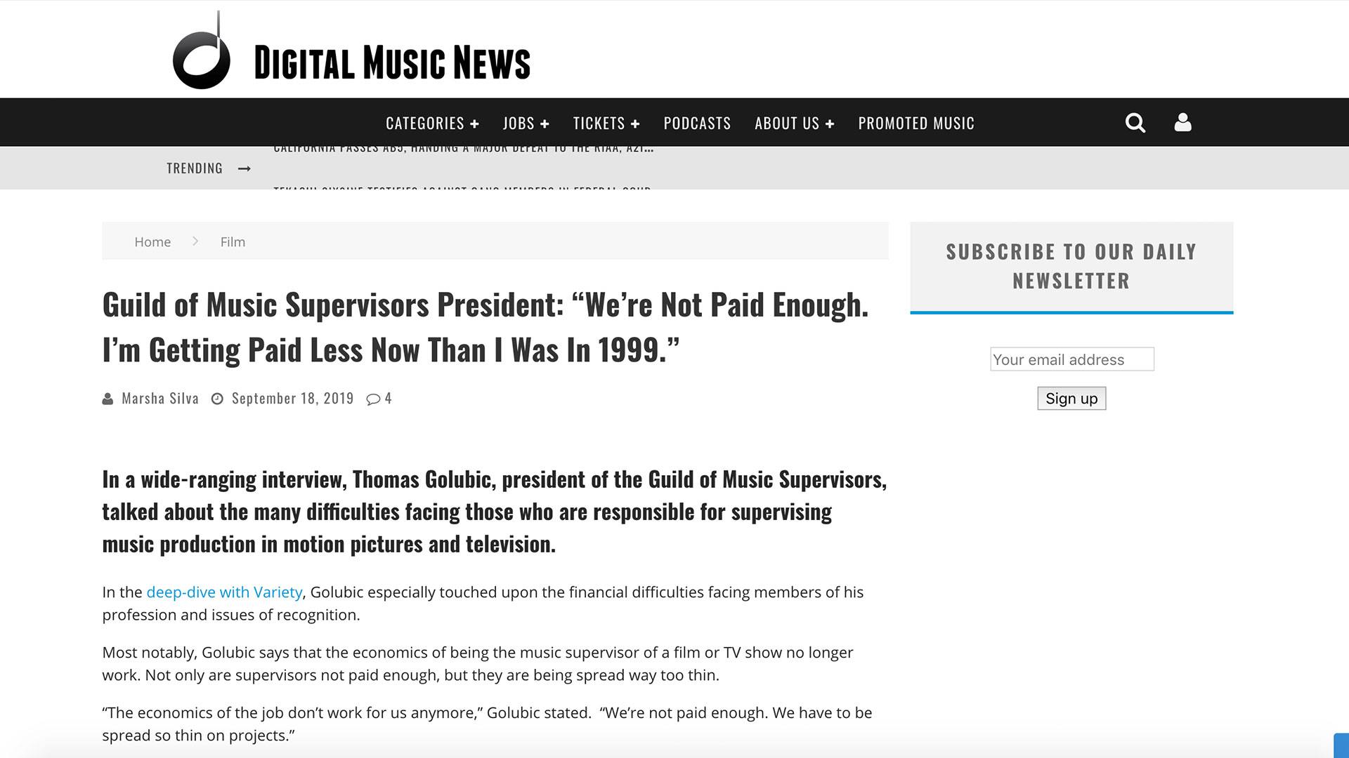 """Fairness Rocks News Guild of Music Supervisors President: """"We're Not Paid Enough. I'm Getting Paid Less Now Than I Was In 1999."""""""