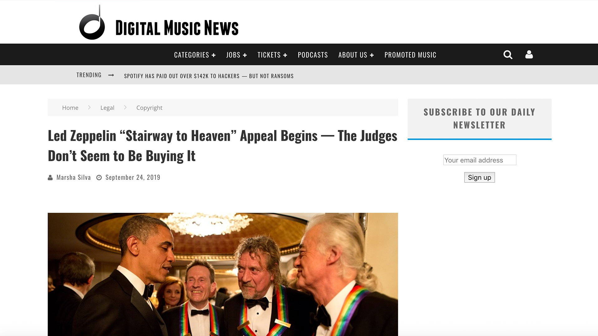 """Fairness Rocks News Led Zeppelin """"Stairway to Heaven"""" Appeal Begins — The Judges Don't Seem to Be Buying It"""