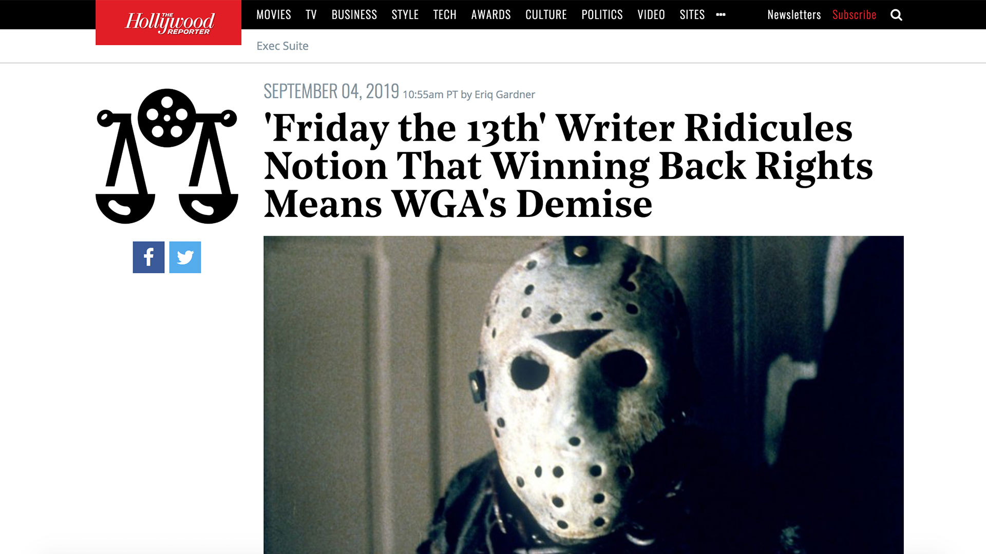 Fairness Rocks News 'Friday the 13th' Writer Ridicules Notion That Winning Back Rights Means WGA's Demise