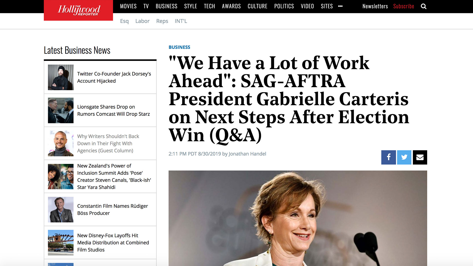 "Fairness Rocks News ""We Have a Lot of Work Ahead"": SAG-AFTRA President Gabrielle Carteris on Next Steps After Election Win (Q&A)"