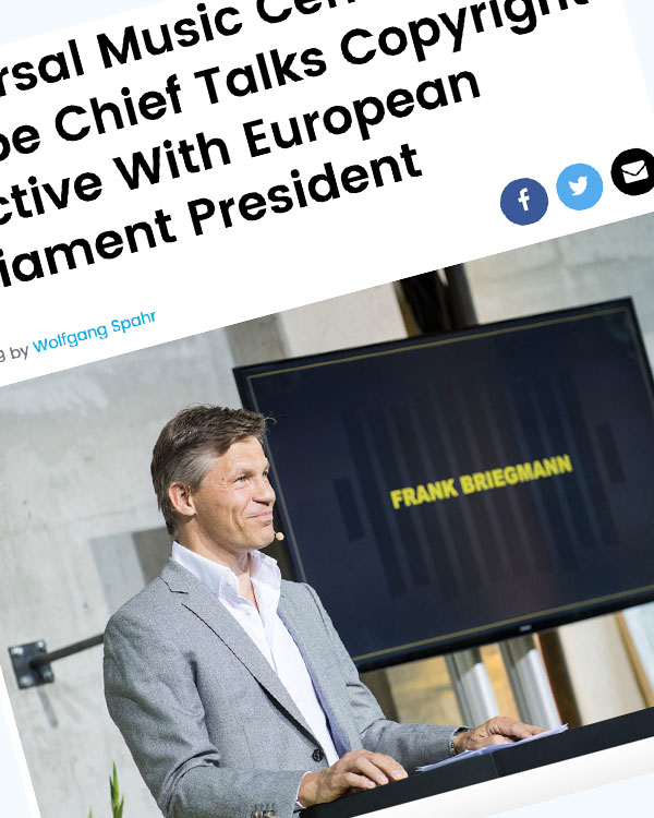 Fairness Rocks News Universal Music Central Europe Chief Talks Copyright Directive With European Parliament President