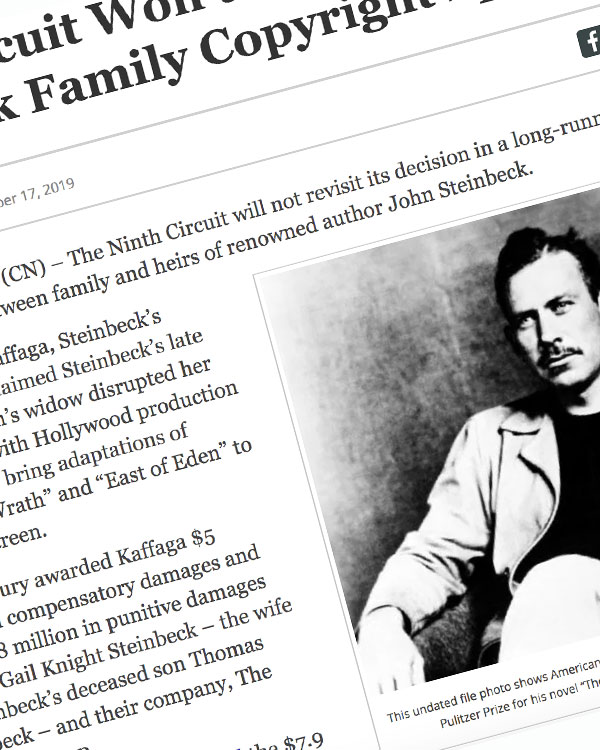Fairness Rocks News Ninth Circuit Won't Rehear Steinbeck Family Copyright Spat