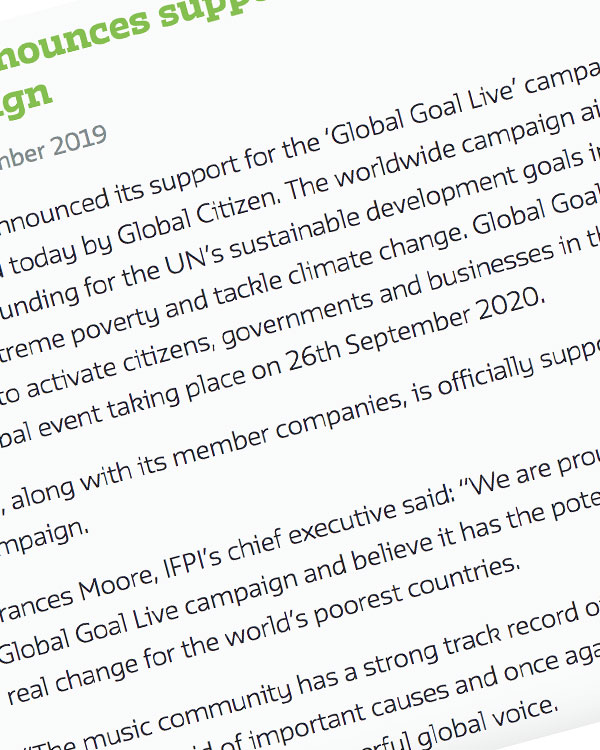 Fairness Rocks News IFPI announces support for Global Goal Live Campaign