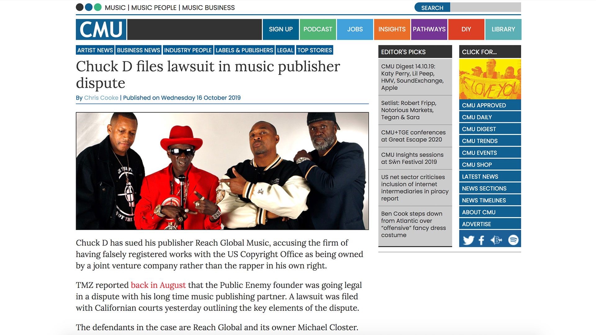 Fairness Rocks News Chuck D files lawsuit in music publisher dispute