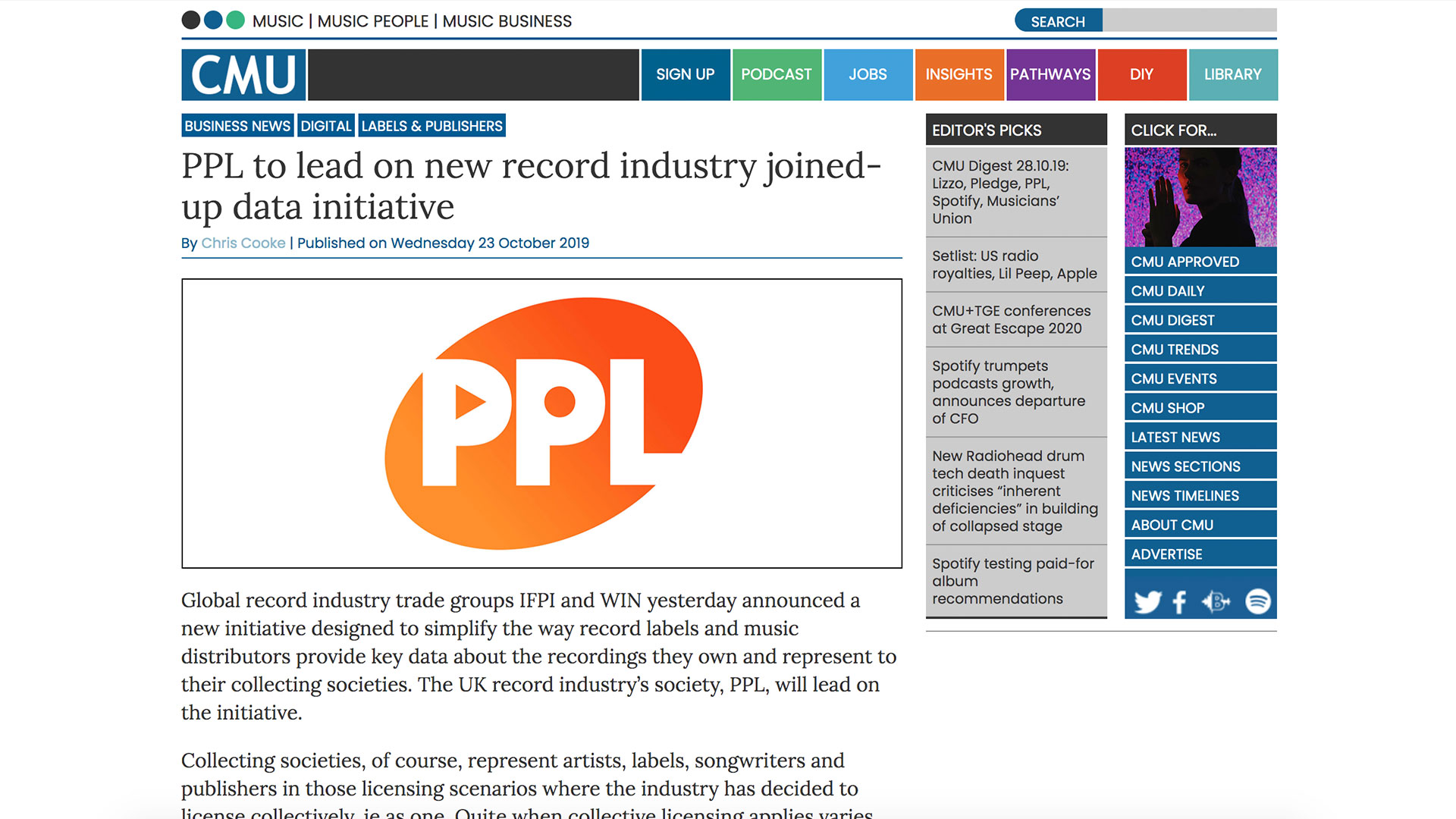 Fairness Rocks News PPL to lead on new record industry joined-up data initiative