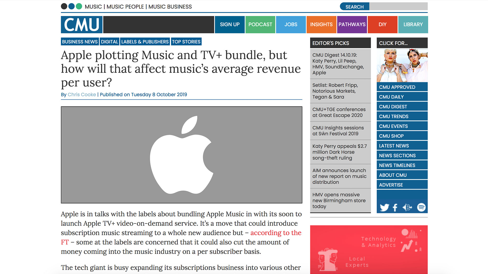 Fairness Rocks News Apple plotting Music and TV+ bundle, but how will that affect music's average revenue per user?