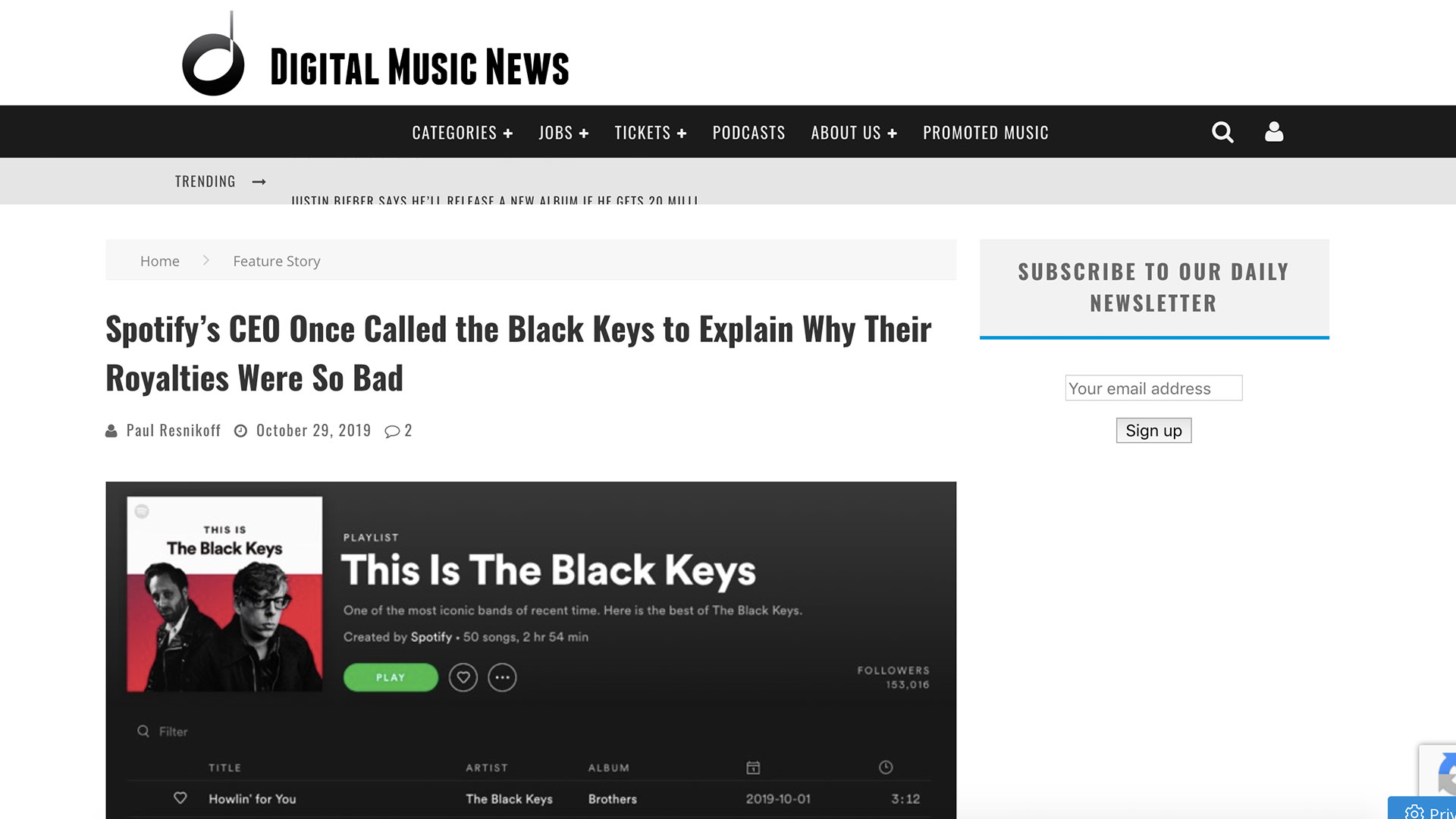 Fairness Rocks News Spotify's CEO Once Called the Black Keys to Explain Why Their Royalties Were So Bad