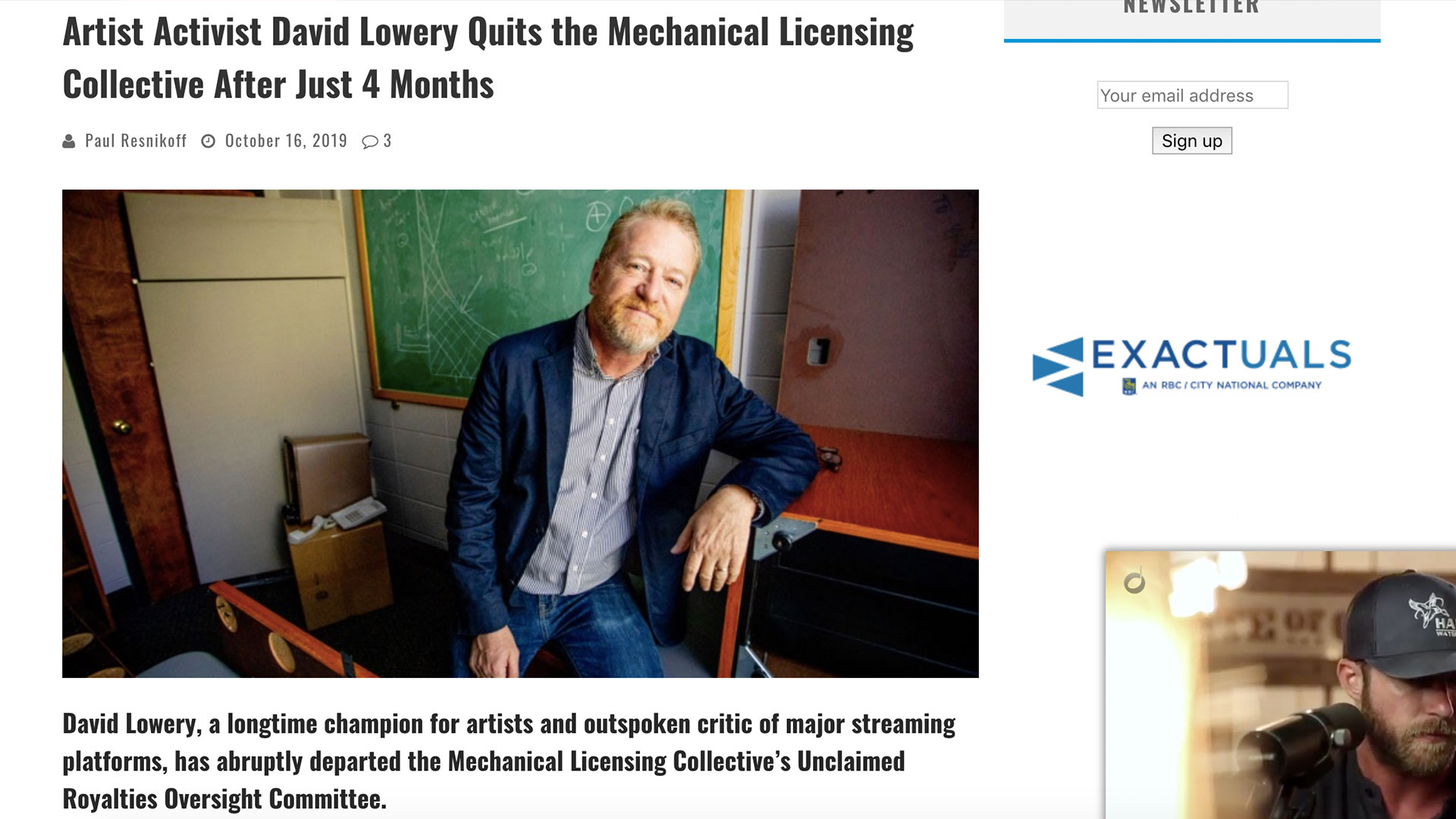 Fairness Rocks News Artist Activist David Lowery Quits the Mechanical Licensing Collective After Just 4 Months