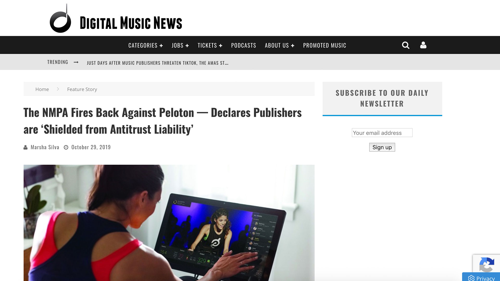 Fairness Rocks News The NMPA Fires Back Against Peloton — Declares Publishers are 'Shielded from Antitrust Liability'