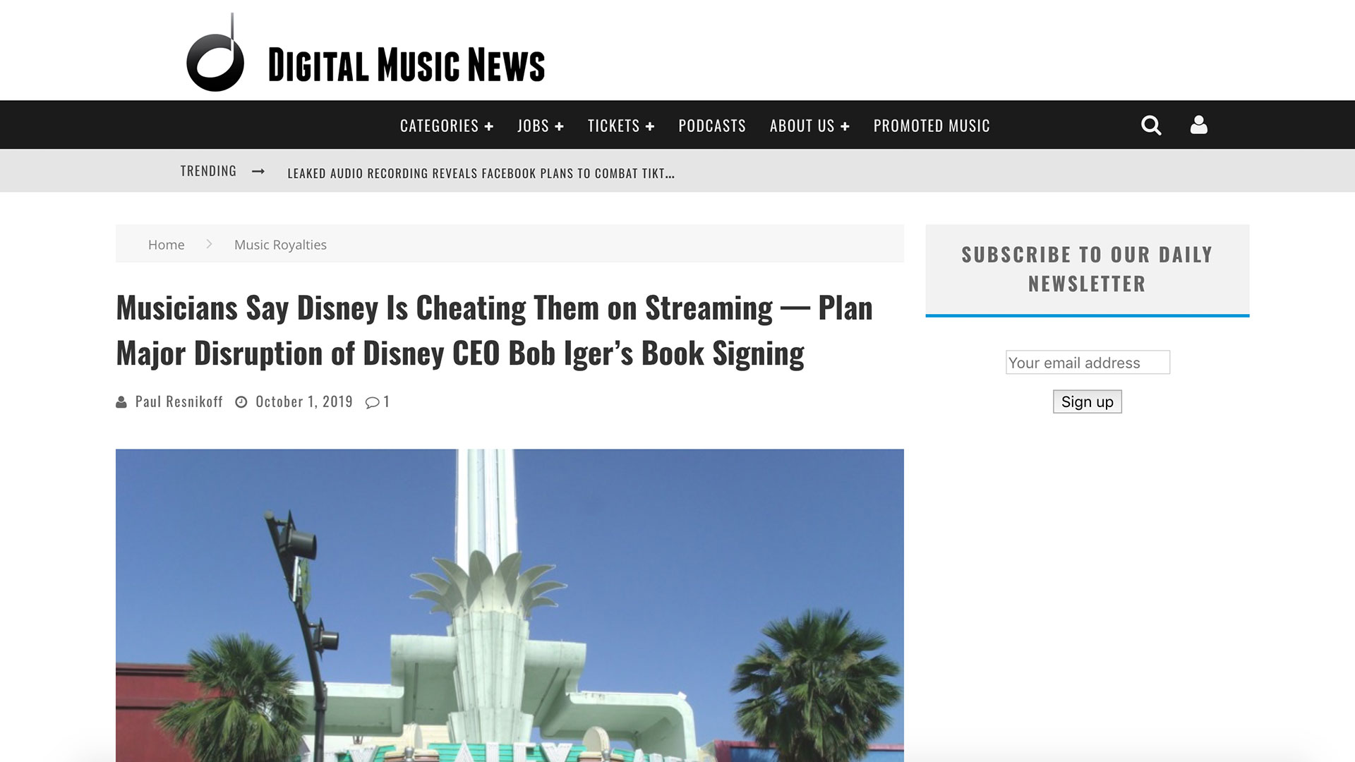 Fairness Rocks News Musicians Say Disney Is Cheating Them on Streaming — Plan Major Disruption of Disney CEO Bob Iger's Book Signing