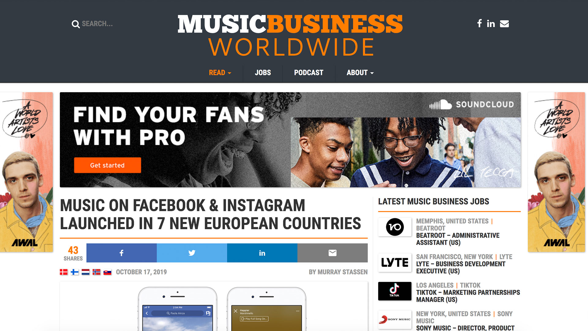 Fairness Rocks News MUSIC ON FACEBOOK & INSTAGRAM LAUNCHED IN 7 NEW EUROPEAN COUNTRIES