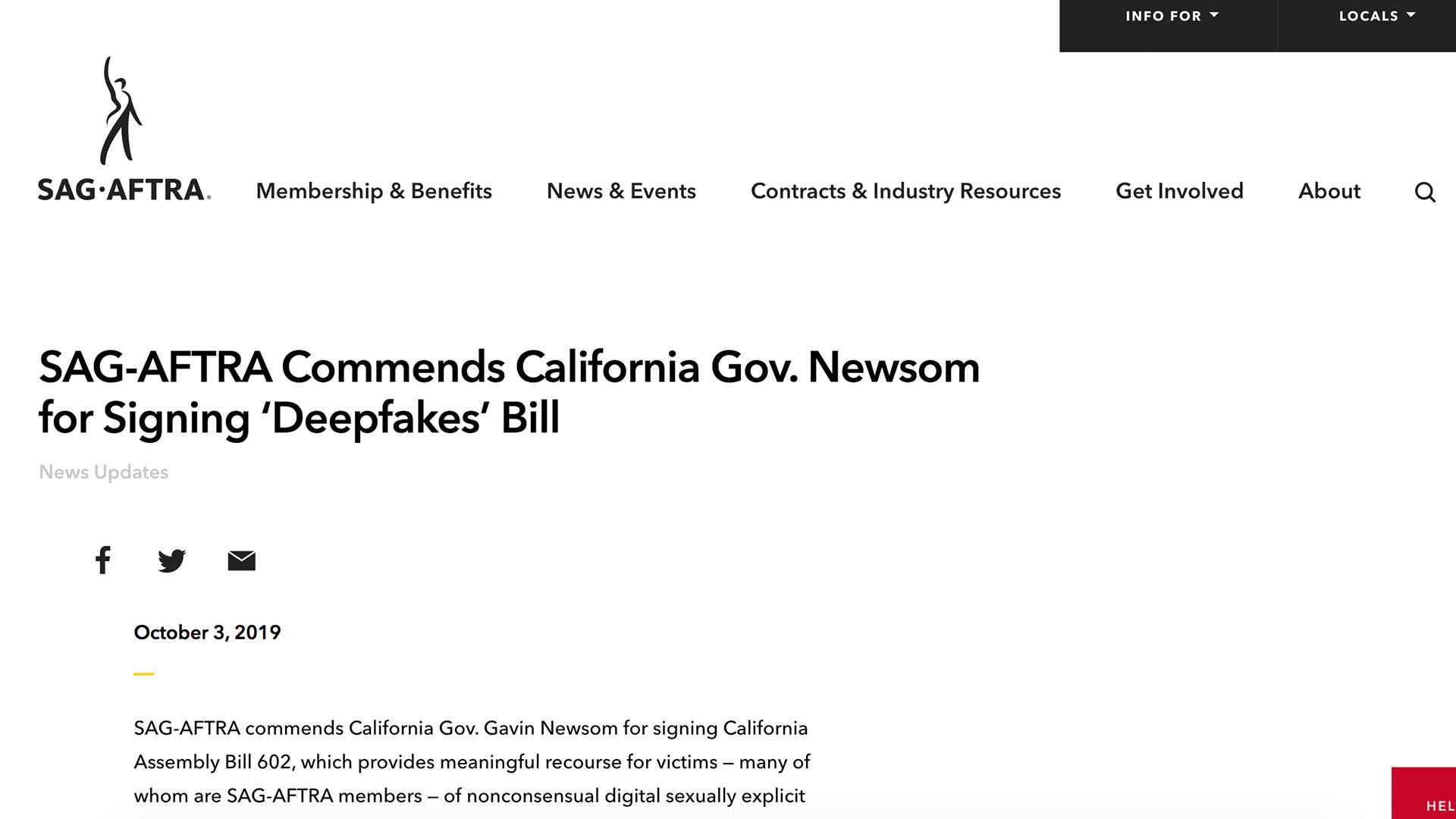 Fairness Rocks News SAG-AFTRA Commends California Gov. Newsom for Signing 'Deepfakes' Bill
