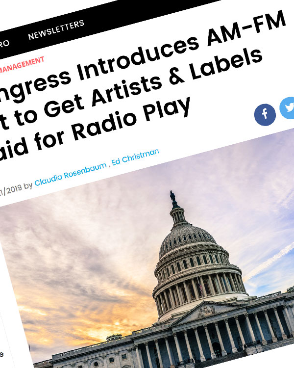 Fairness Rocks News Congress Introduces AM-FM Act to Get Artists & Labels Paid for Radio Play