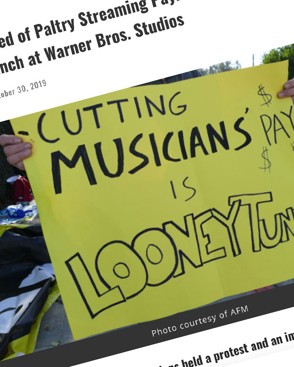Fairness Rocks News Musicians, Tired of Paltry Streaming Payments, Protest the HBO Max Launch at Warner Bros. Studios
