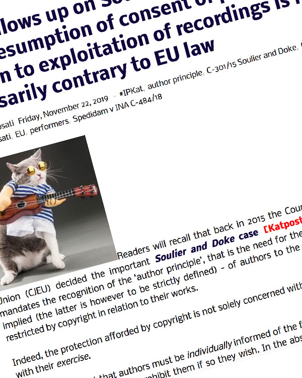 Fairness Rocks News CJEU follows up on Soulier and Doke and rules that presumption of consent of performers in relation to exploitation of recordings is not necessarily contrary to EU law