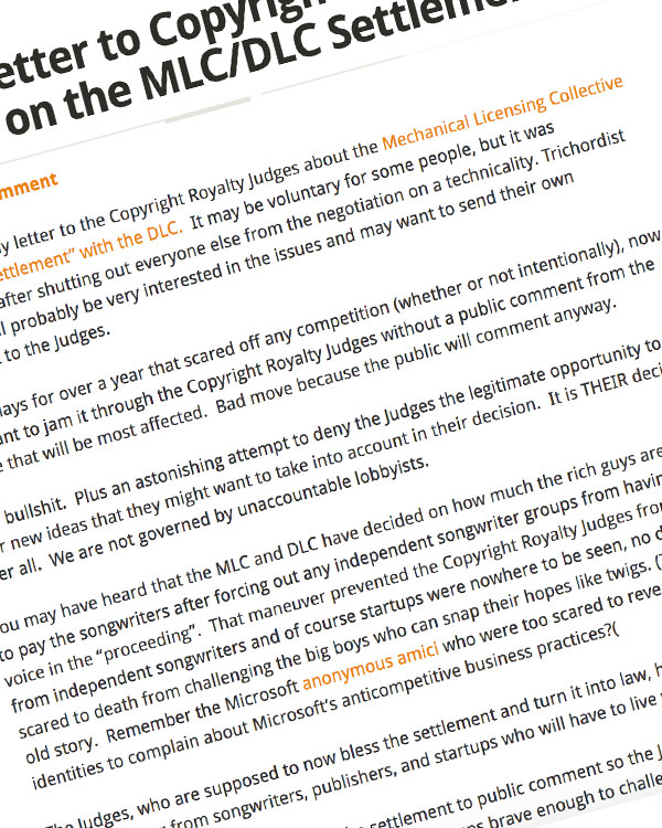 Fairness Rocks News Open Letter to Copyright Royalty Judges on the MLC/DLC Settlement